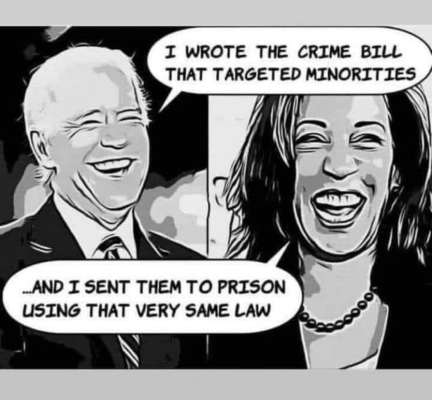 pol cartoon: Joe and Kamala - The Crime Bill Crooks